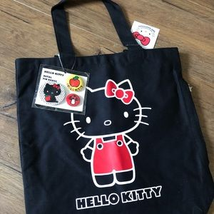 HELLO KITTY-NWT Large Black Tote with 3 Pins